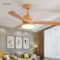 48 дюймов Nordic дерева потолочный вентилятор огни с Дистанционное управление 220 вольт Спальня потолочный светильник лампа вентилятор светоди
