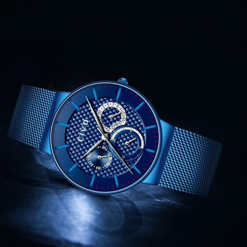 Reloj militar deportivo para hombre reloj de fecha cronógrafo resistente al agua para hombre reloj de malla de acero inoxidable azul-in Relojes deportivos from Relojes de pulsera    2