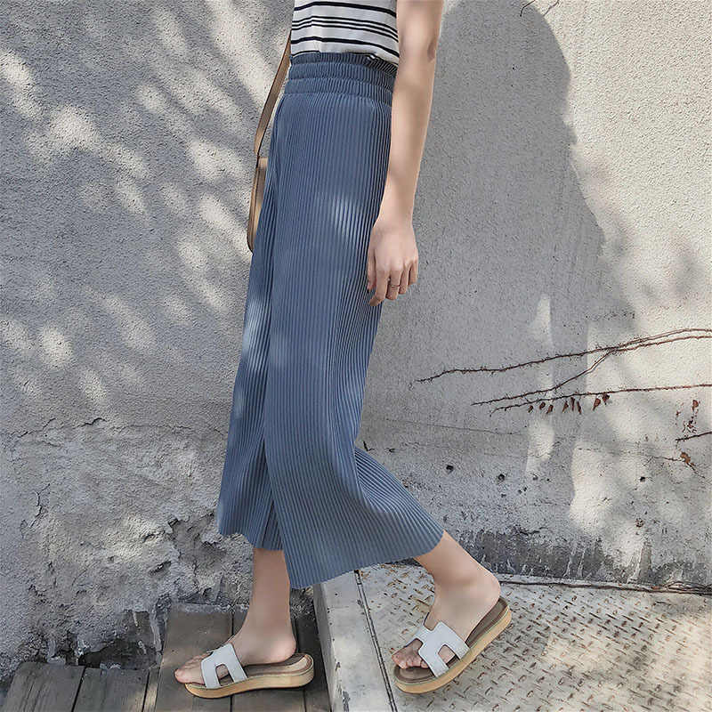 e76cda91190b28 2019 New Summer Fashion Lady Wide Leg Chiffon Pants High Waist Long Loose Palazzo  Pants Culottes