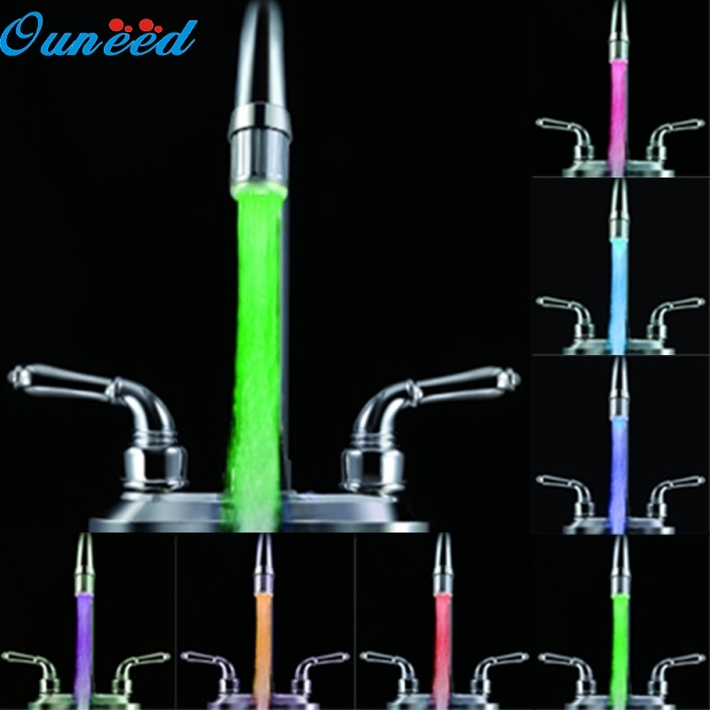 Ouneed Shower Head Romantic 7 Color Change LED Light Shower Head Water Bath Home Bathroom Glow 1PC цена