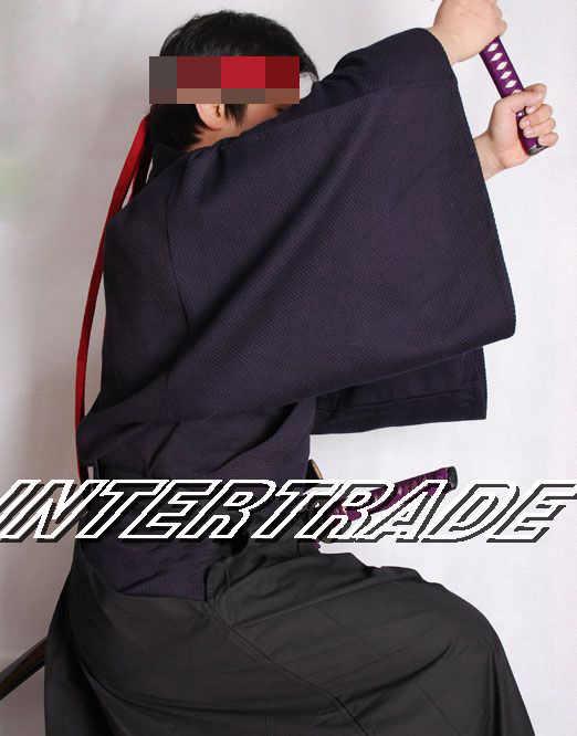 100%綿剣道武道ジャケット伝統warrior日本サムライスーツ居合制服広い袖トップス合気道ブルー