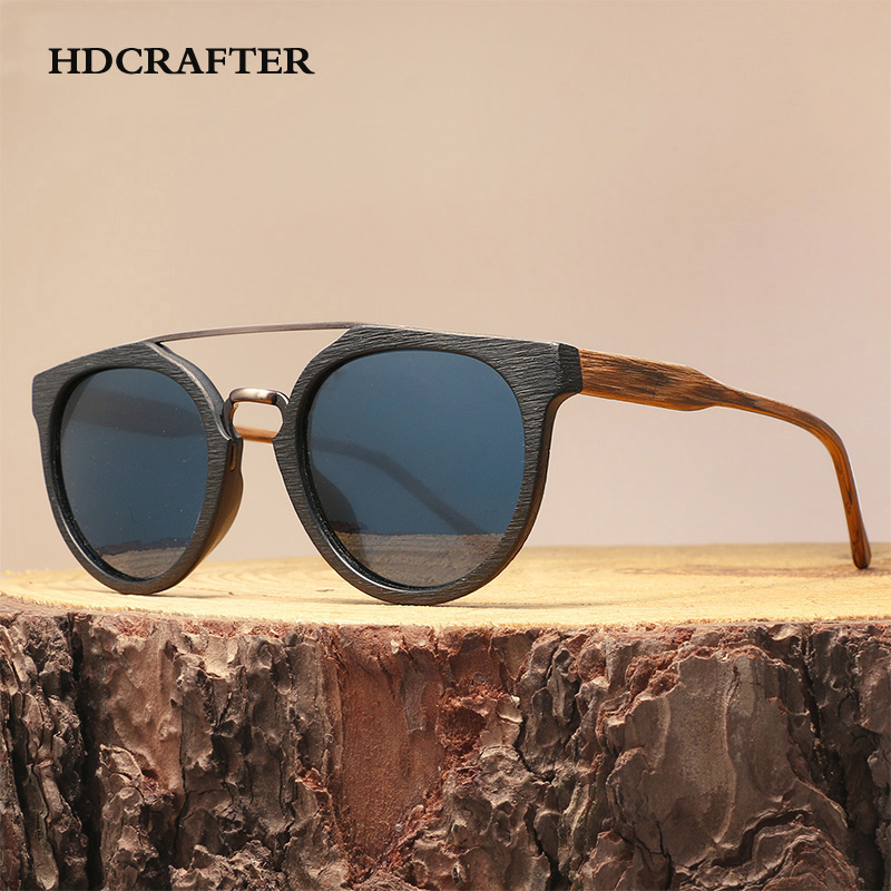 HDCRAFTER Vintage Wood Sunglasses For Men/Women,High Quality Polarized Lens UV400 Classic Sun glasses Gafas Oculos De Sol Madera