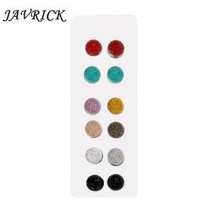 Image 1 - JAVRICK 12 пар мусульманские многоразовые Стразы магнитные броши для шарфов круглые шпильки для хиджаба