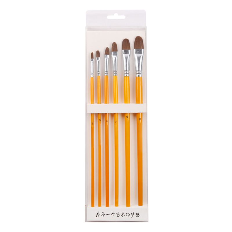 Yellow Birch Wolf Hair Gouache Oil Brush Long Rod Acrylic Brush 6 Sets Of Watercolor Pen 1 Set Of 6 Round Front Brushes|Paint Brushes|   - title=