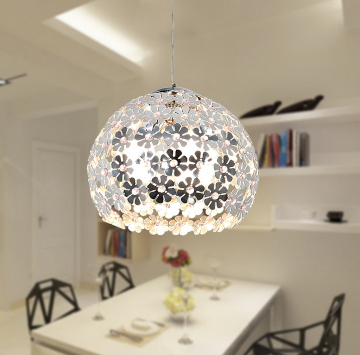 4color Beautiful Flower Crystal Pendant Light Modern Lighting Fixture Lustre Hanging Pendant Lamp for Dining Room Bedroom WPL034 free shipping modern brief pendant light iron and crystal restaurant lamp fashion lighting light fixture for dining room bedroom
