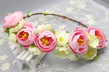 vintage bohemian holiday color big flower garland wreath ribbon headband hair accessories Prom Festival Artificial Flower Wreath