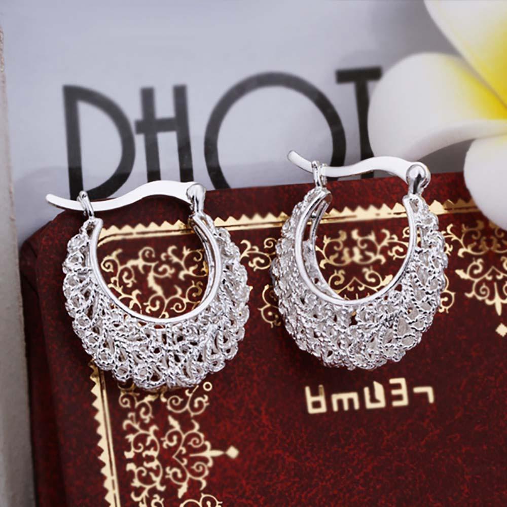 Χονδρικής κοσμήματα ασημένια σκουλαρίκια, αξεσουάρ κοσμήματα γάμου, μόδα περασμένα υφαντά λουλούδια γυναικών σκουλαρίκια