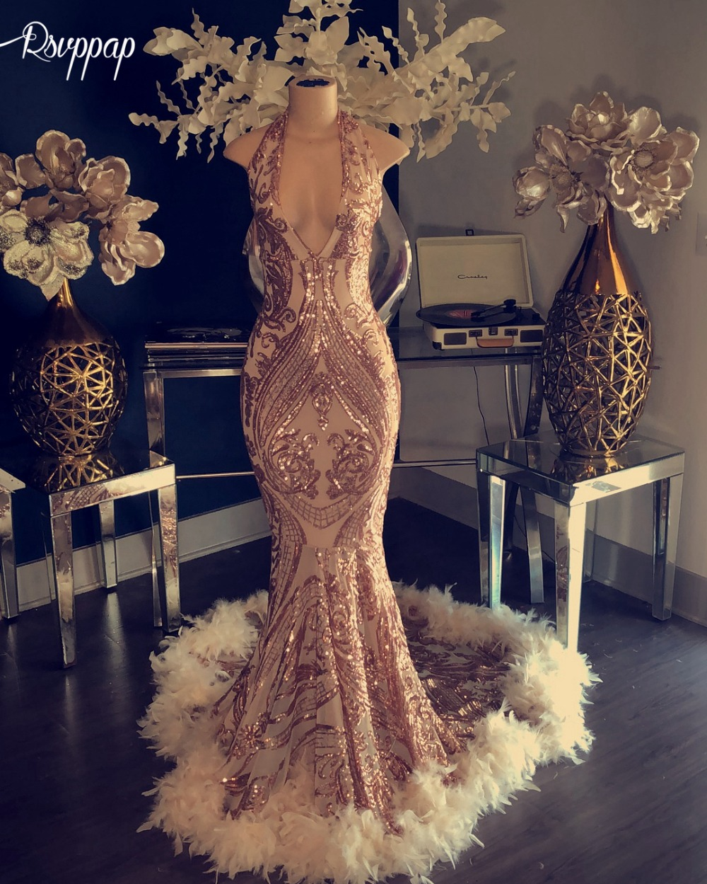 Sparkly African Mermaid Long   Prom     Dress   2019 Halter Sleeveless Elegant Feather Rose Gold Black Girl Party   Prom   Formal Gowns