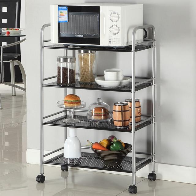 Dapur Dimasukkan Ke Dalam Microwave Oven Rak Besi Lantai Multifungsi Gerobak Ponsel Dengan Roda