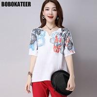 BOBOKATEER Linen Summer White Blouse Women Shirt Plus Size Casual Short Sleeve Print Ladies Blusas Womens