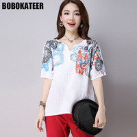BOBOKATEER Linen Summer White Blouse Women Shirt Plus Size Casual Short Sleeve Print Ladies Blusas Womens