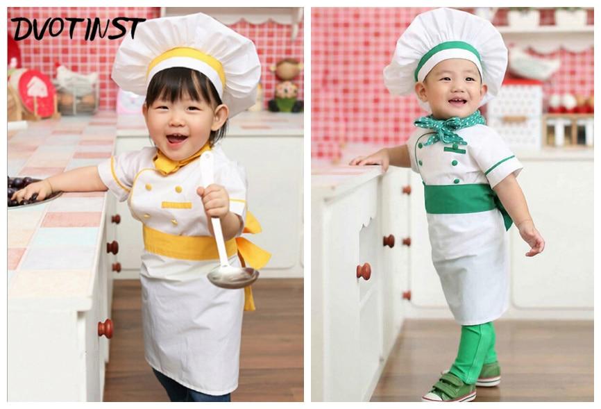 Bebé recién nacido accesorios de fotografía Cosplay Chef 4pcs / set traje Unisex Fotografia traje de felpa traje Studio Shoot foto traje