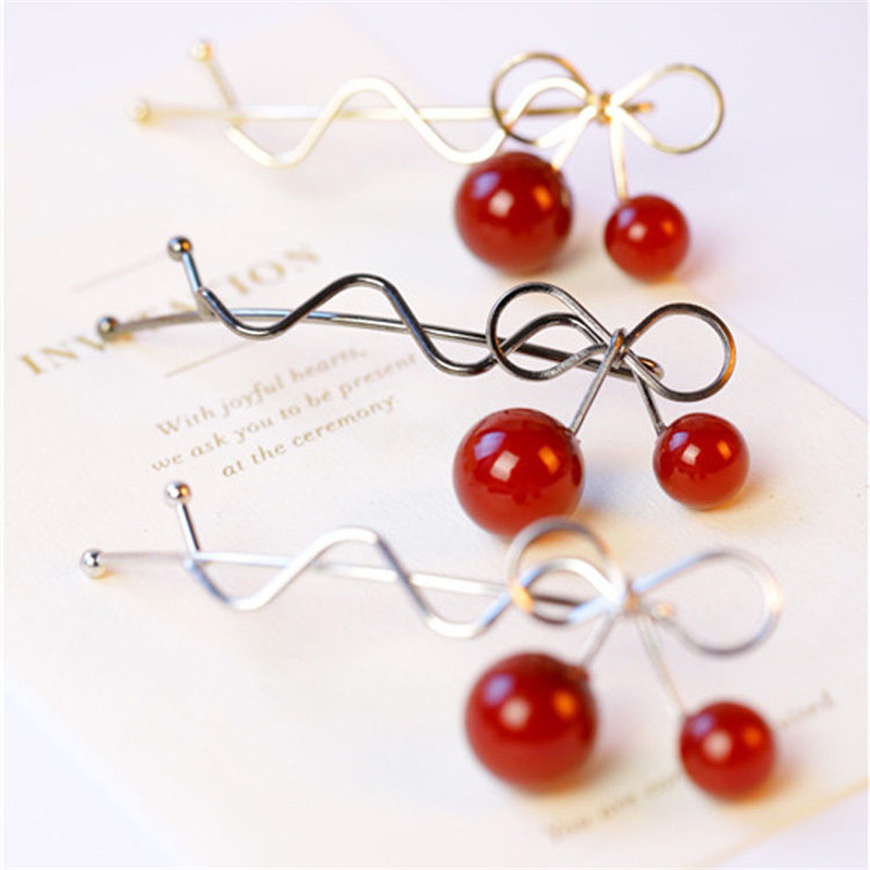 Fashion 1Pcs Girl Hot Twist Hair Clip Red Cherry Shaped Bowknot Hairpin Barrette Headwear Hair Accessories