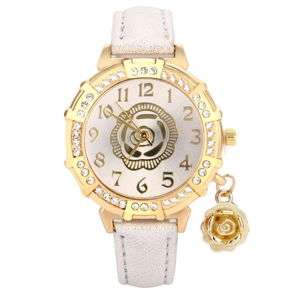 Fashion Rose Pendant Rhinestone Watches Women Clock Leather Belt Ladies Casual Dress Quartz Wristwatch Feminino Gift Reloj  #A