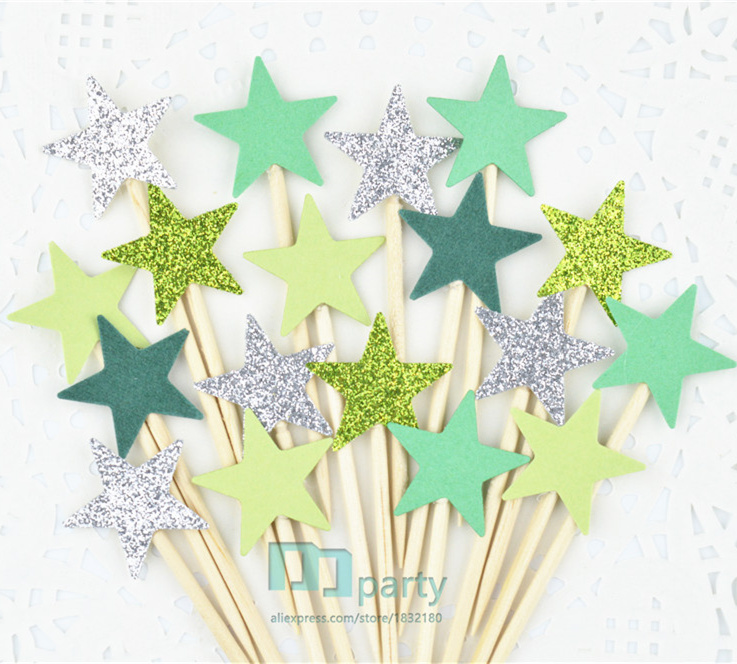 40pcs/lot forest green Glitter Star Toppers Picks Birthday Party Decorations Baby Shower Cupcake Toppers Food Picks