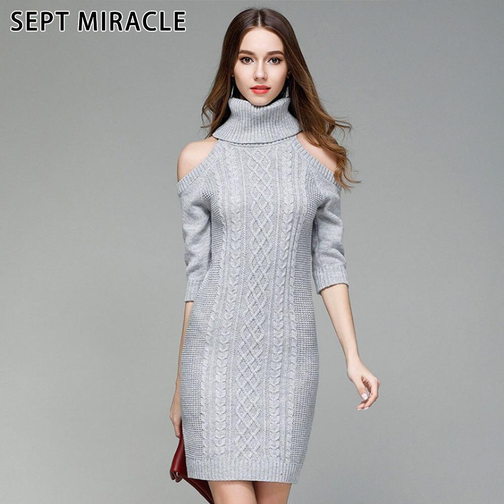 SEPTEMBER MIRACL Lange Pullover Kleid Frauen Strickkleider Mode ...