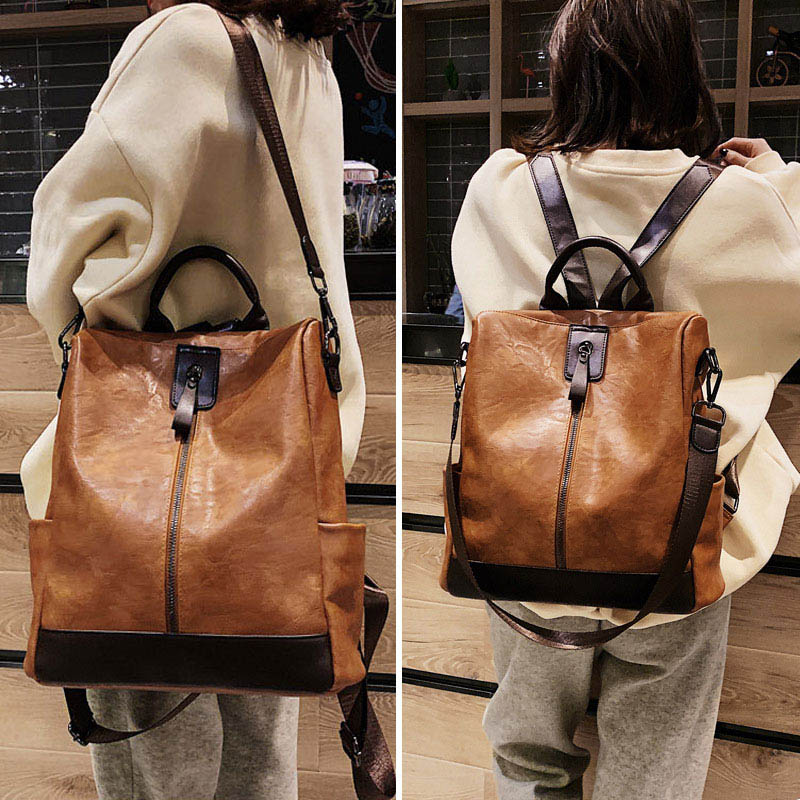 Image 3 - Fashion Women High Quality Leather Backpack Multifunction Backpack For Female Big Bookbag Anti Theft Travel Bag Sac A Dos XA279H-in Backpacks from Luggage & Bags