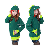 Animal Cute Green Dinosaur Hoody Cartoon Animal Hoodie With Ears Hooded Hoody Coat Jacket Warm Polar