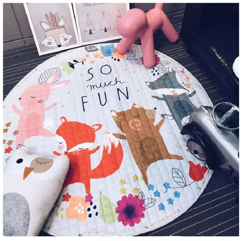 Cartoon Animals Fox Giraffe Raccoon Sheep Captain America Shield Multifunctional Skidproof Play Mats Rug Carpet Toys Storage Bag