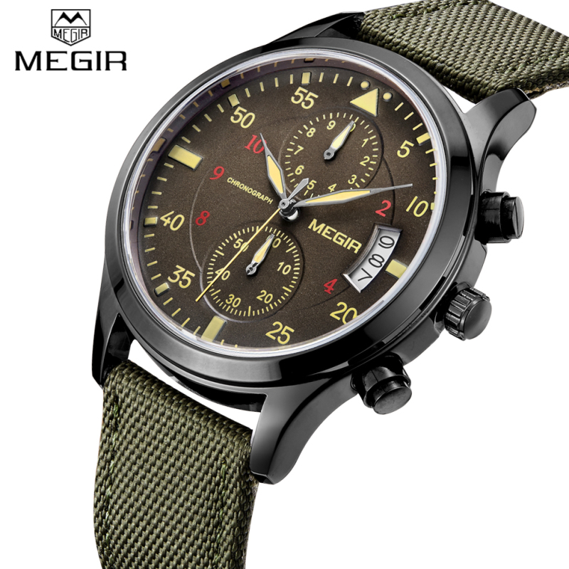 Top Luxury Brand MEGIR Men Military Watches Quartz Chronograp 6 Dial Day Clock Male Nylon Straps Waterproof Business Wrist watch xinge top brand luxury leather strap military watches male sport clock business 2017 quartz men fashion wrist watches xg1080