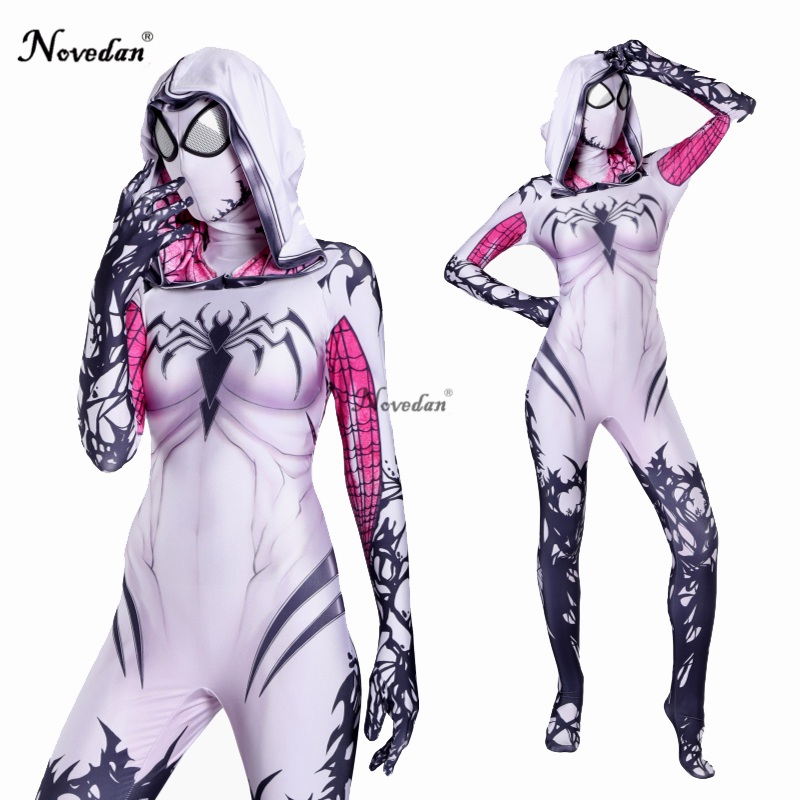 Gwendolyn Cosplay Spider Gwen Costume Mask Suit Venom Gwen Stacy Spiderman Halloween Costume For Women Zentai