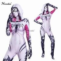 Gwendolyn Cosplay Spider Gwen Costume Mask Suit Venom Gwen Stacy Spiderman Halloween Costume For Women Zentai Bodysuit Catsuit
