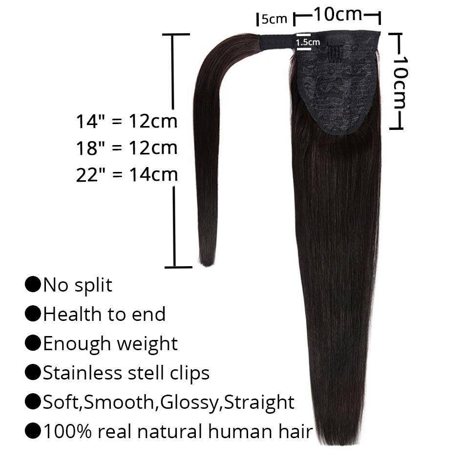 MRSHAIR 22 hüvelyk Szőke Emberi Haj Ponytails Extensions 120g Brown - Emberi haj (fehérre) - Fénykép 2
