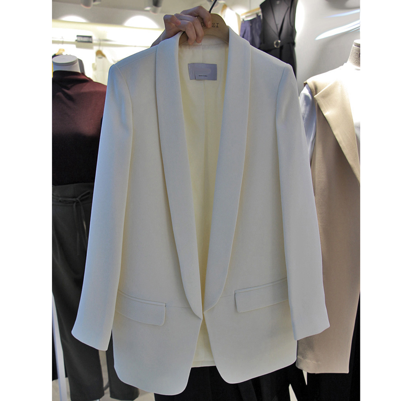 New Casual White Suit Female Jacket Long Section Black Professional Suit Long Sleeve Spring And Autumn Lady Clothes Women Blazer Drip-Dry