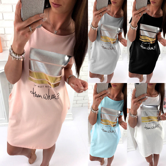 2019 New Loose O-Neck Women Dress Short Sleeved Plus Size Clothing Summer Casual Women Letter Print Short Dresses With Pockets