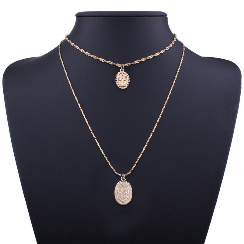 New Arrival Fashion chokers necklaces for women Double layer Chunky Jewelry necklace Pendant Neck accessories Collier A08#N (8)