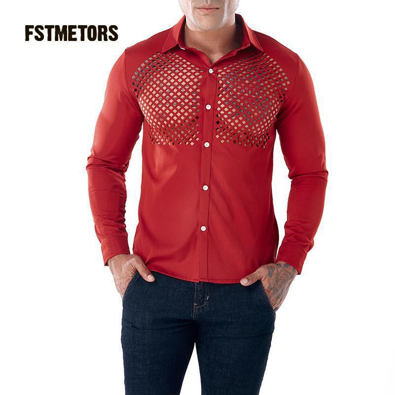 2018 Fstmetors Autumn And Winte Pure Color Big Chest Hollow Design Men's Long Sleeved Lapel Shirt Men's Shirt.