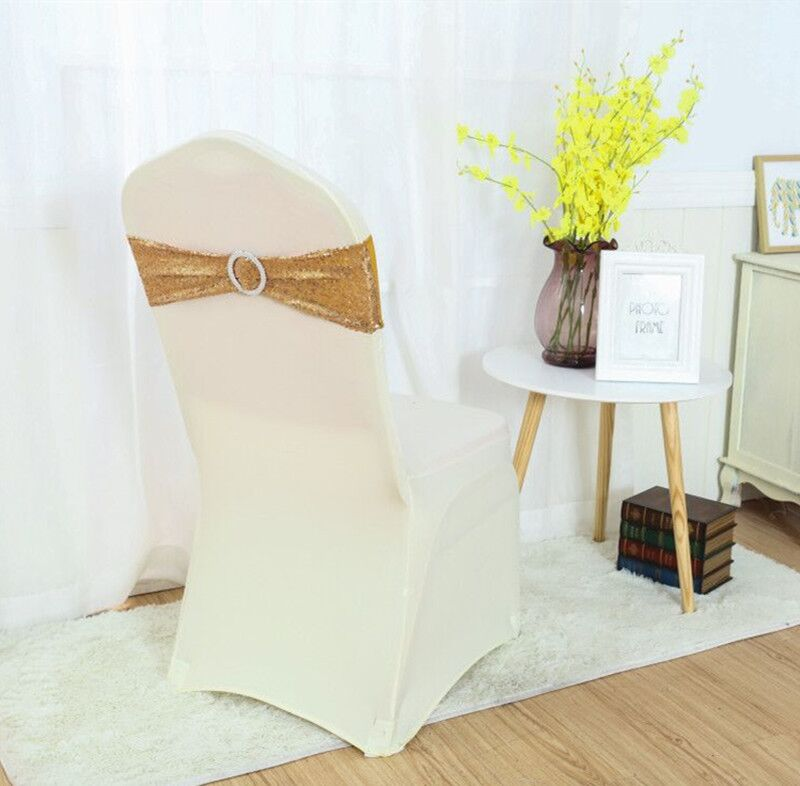 100pcs Embroidery Mesh Sequin Chair Sash Wedding Party Banquet Sequin Chair cover chair sash Band Silver Gold free shipping in Sashes from Home Garden