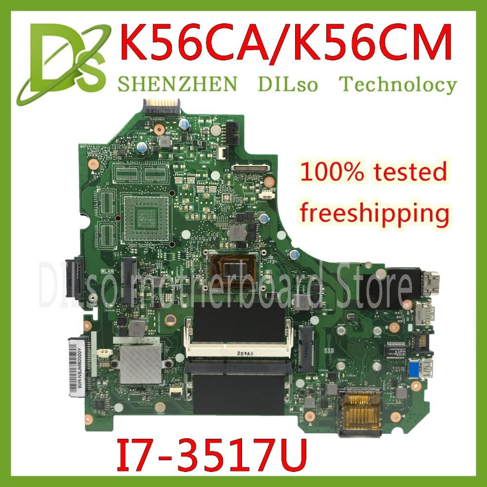 KEFU K56CA For ASUS S550CA K56CM K56CA Laptop Motherboard I7-3517U CPU GM K56CA motherboard with original Test