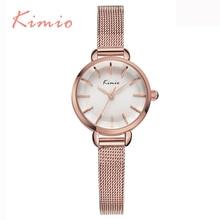 KIMIO Nueva Llegada Elegante Rosa de Oro Reloj de Pulsera Para Las Señoras de Lujo de Malla de Banda Relogio Feminino Mujer Relojes de Cuarzo de Calidad Superior