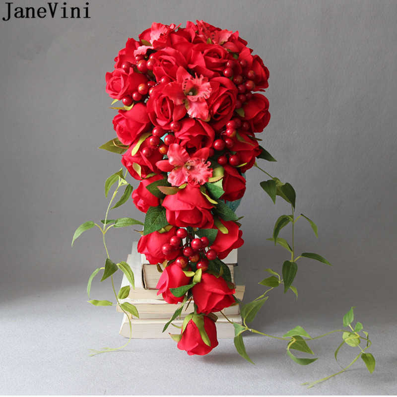 JaneVini Romantic Bridal Bouquets Wedding Flowers Artificial Red Silk Roses Waterfall Brides Brooch Bouquets Accesorios De Novia