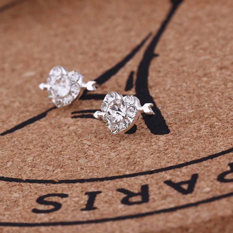 Mossovy Korean Heart-shaped Zircon Silver Stud Earrings for Women Fashion Alloy Arrow Female Jewelry Aretes De Mujer