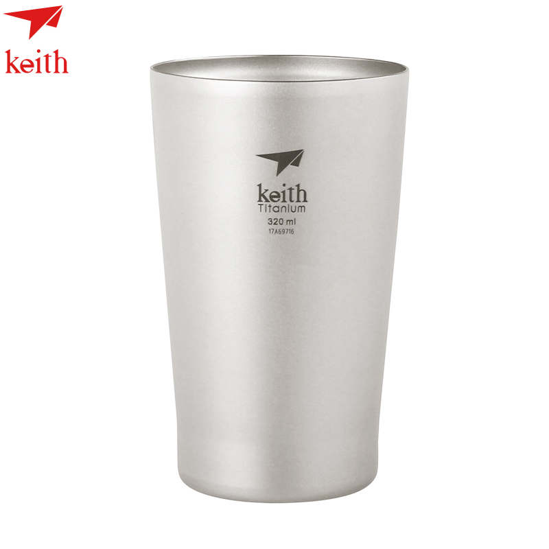 Keith Double Wall Titanium Beer Mugs Insulation Drinkware Outdoor Camping Coffee Cups Ultralight Travel Mug 320ml