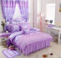 Juego de sábanas de Cama de Encaje de algodón Muchachas Del estilo de Corea Rosa Púrpura ropa de Cama set Completo Queen King Size Funda Nórdica conjunto Bedskirt Almohada cubre