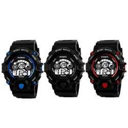 Унисекс подростков дети цифровые электронные часы спортивные Водонепроницаемый Multifuctional Дата сигнализации альпинист наручные часы