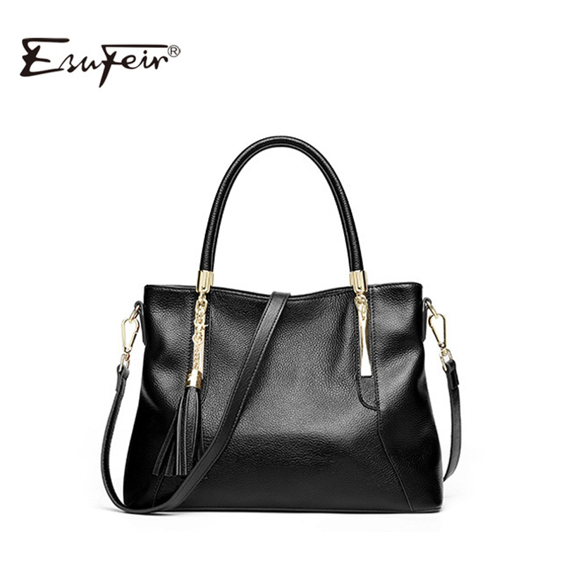 2019 Fashion Cow Leather Women handbag Solid Tassel High Quality Female Messenger Bag Famous Brand Bag