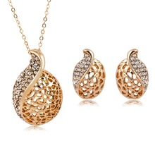 Korean fashion womens crystal water drop long necklace jewelry set