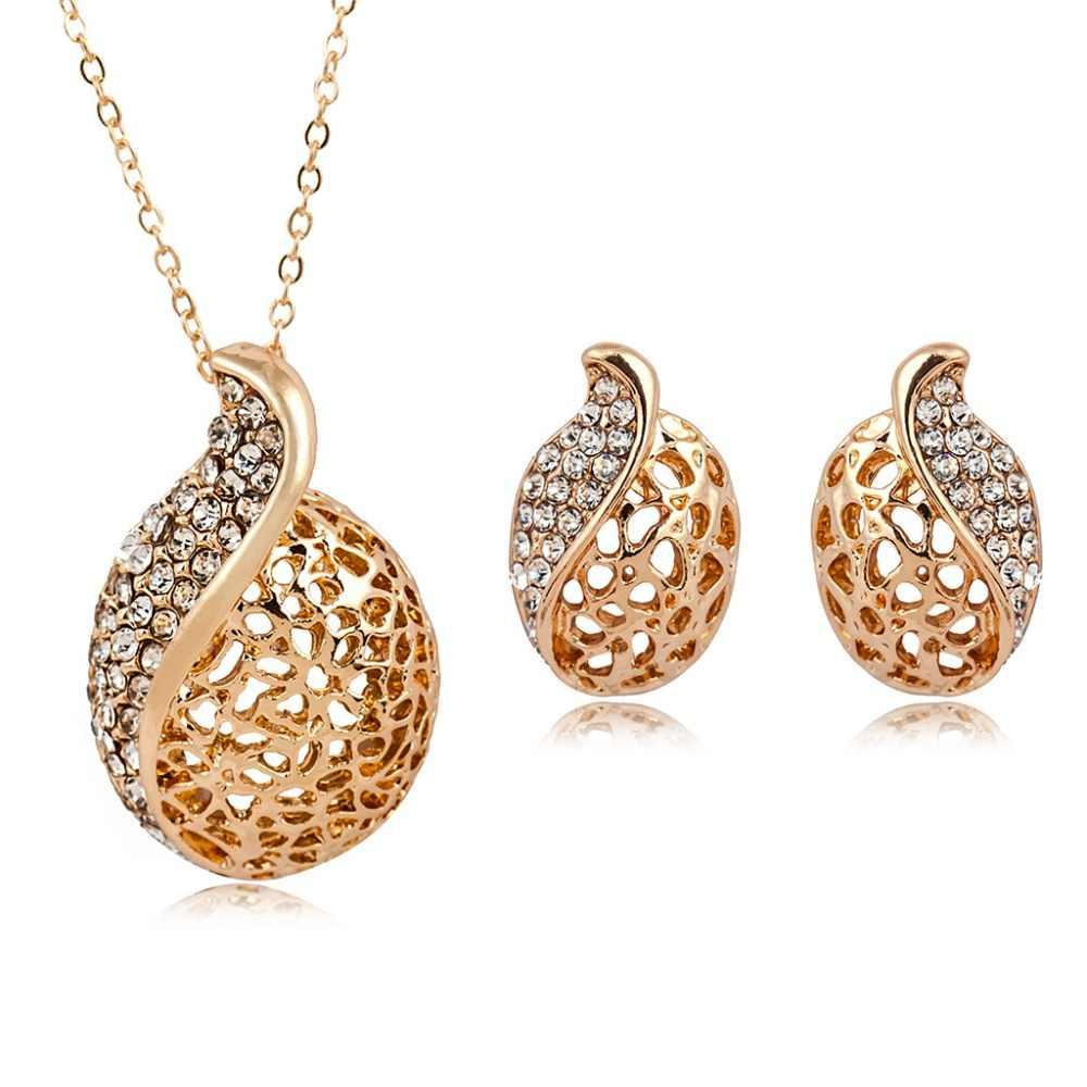 Korean fashion women's crystal water drop long necklace Korean jewelry set