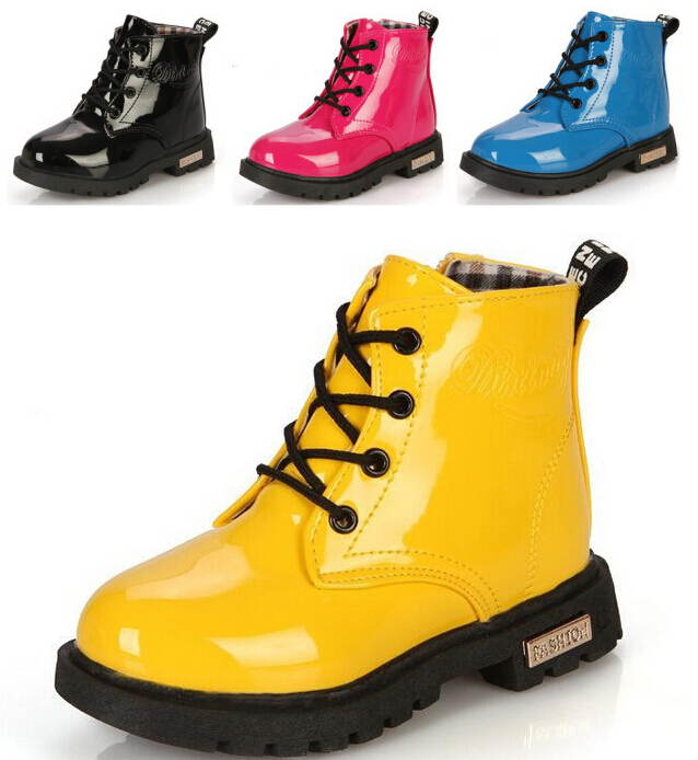 Spring 2015 Children's Martin boots Kids Ankle Boys Girls shoes Rain Patent leather Snow - SAR store