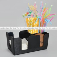 Black Plastic Straw Box Tissue Boxes Multi Purpose Tissues And Straw Box