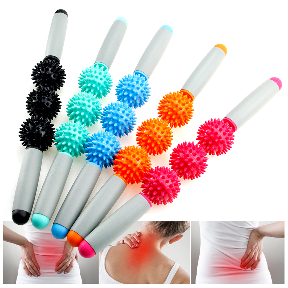 Massage Roller Stick Muscle Body Massage Relax Tool Muscle Roller Sticks With Point Spiky Ball Release Pain Leg ,Neck & Back