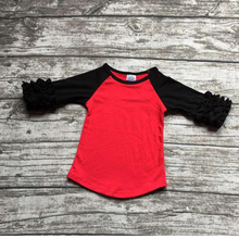 red and black cotton shirt Halloween fashion shirts ruffles raglan t-shirts hallaween