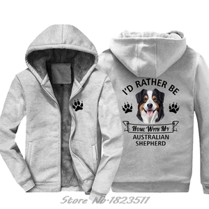 Image 2 - Winter Sweatshirt Australian Shepherd hoodie ICH WÜRDE Eher Hause Mit Meinem Aussie Hund Casual Männer Jacke Harajuku Streetwear