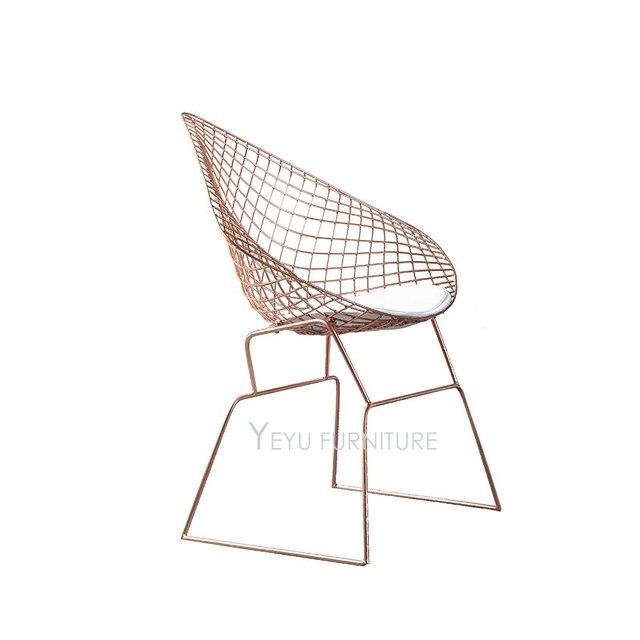 Modern Design Harry Bertoia Diamond Steel Wire Chair Diamond Loft Metal  Chair Pad Modern Diamond Wire Chair Leisure Cafe Chair
