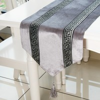 Topfinel Stripe Geometric Modern Luxury Table Runners Cloth with Tassels Dining Decoration for Wedding Party Home Office 5 color