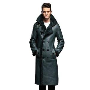 Image 5 - Luxury Mens Sheepskin Coat Genuine Leather Male Formal Casual Winter Long Thick Jacket Sheepskin Shearling Men Fur Outwear 5XL